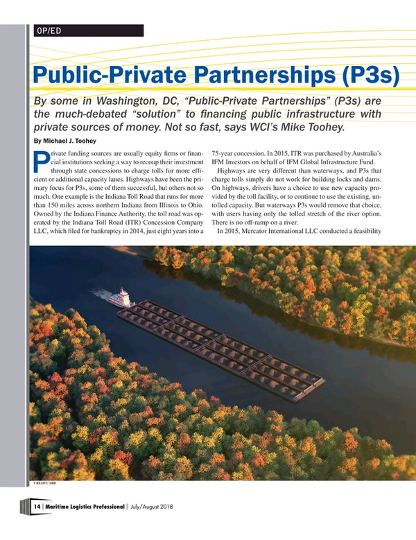 Maritime Logistics Professional Magazine, page 14,  Jul/Aug 2018
