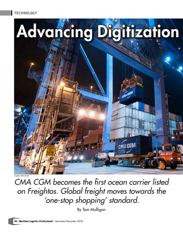 Maritime Logistics Professional Magazine, page 46,  Nov/Dec 2018