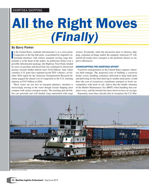 Maritime Logistics Professional Magazine, page 14,  May/Jun 2019