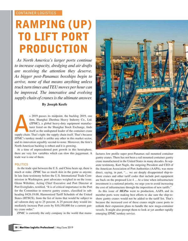 Maritime Logistics Professional Magazine, page 18,  May/Jun 2019