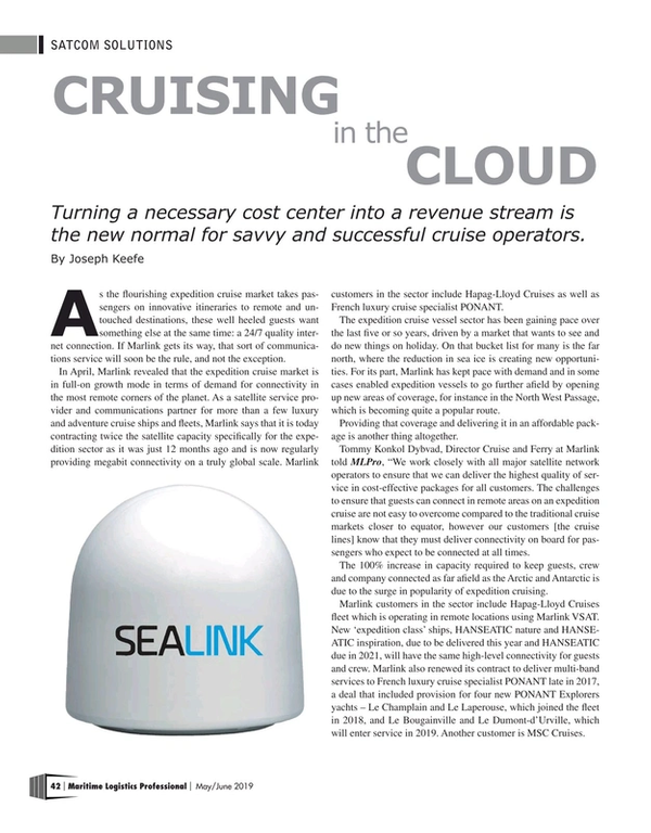 Maritime Logistics Professional Magazine, page 42,  May/Jun 2019