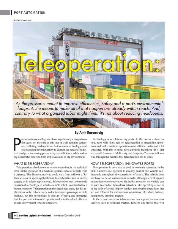 Maritime Logistics Professional Magazine, page 44,  Nov/Dec 2019