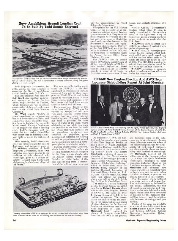 Maritime Reporter Magazine, page 12,  Jan 15, 1974