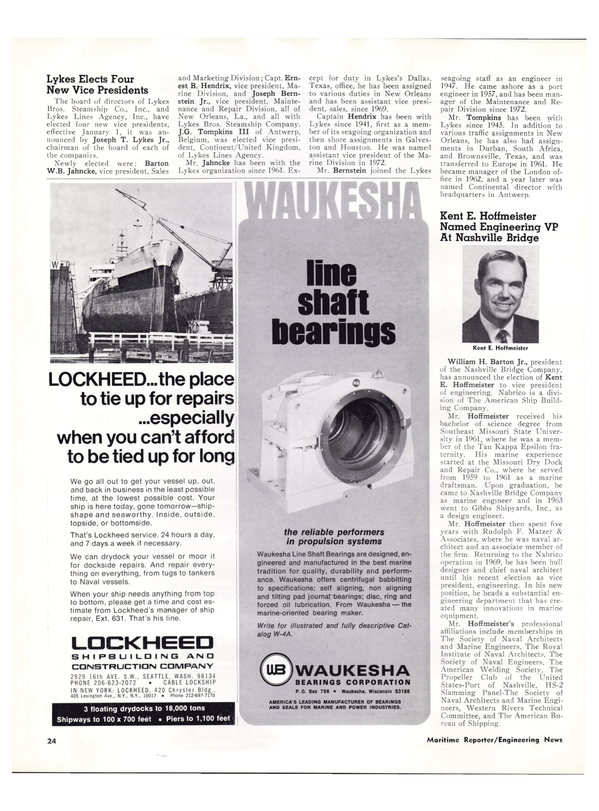 Maritime Reporter Magazine, page 22,  Jan 15, 1974