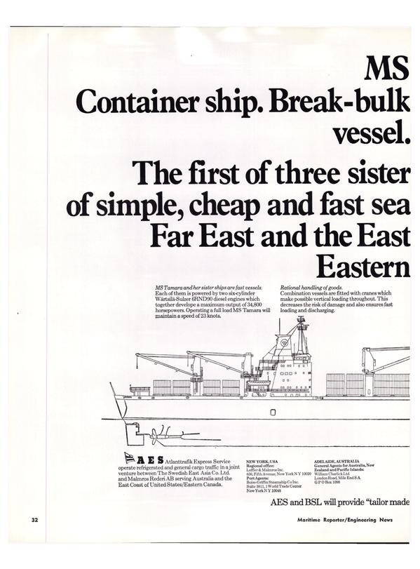 Maritime Reporter Magazine, page 30,  Jan 15, 1974