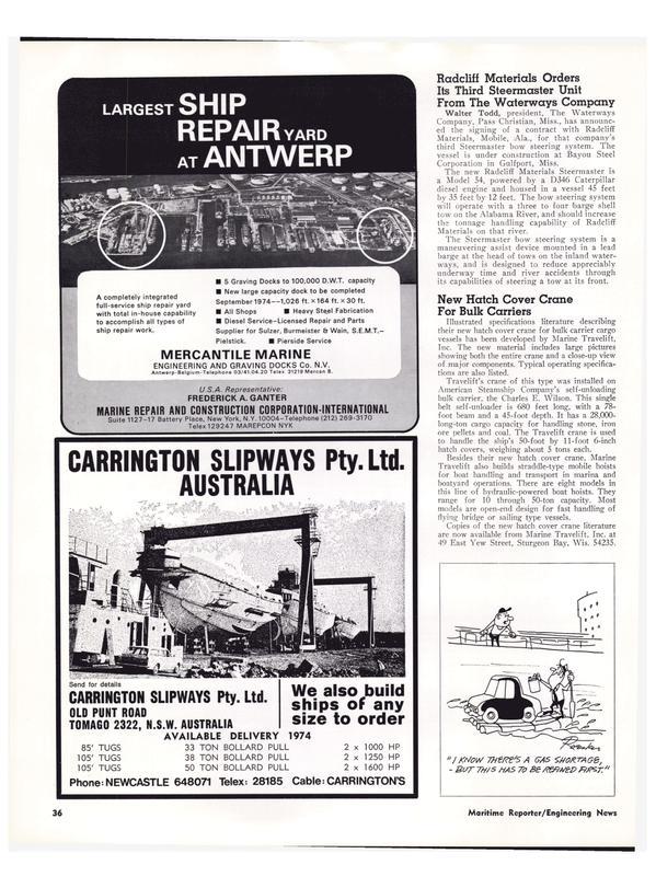 Maritime Reporter Magazine, page 34,  Jan 15, 1974