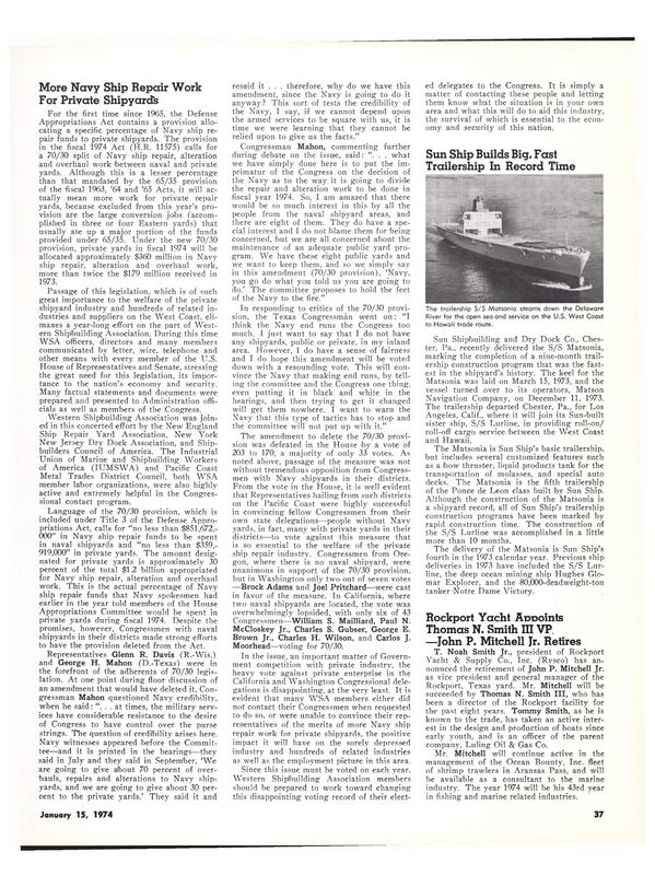 Maritime Reporter Magazine, page 35,  Jan 15, 1974