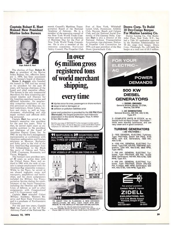 Maritime Reporter Magazine, page 37,  Jan 15, 1974 Pennsylvania