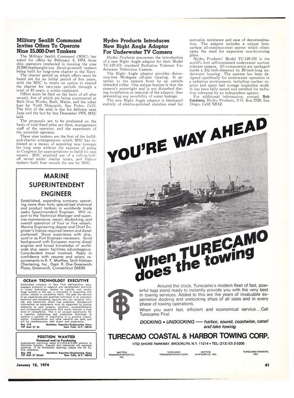 Maritime Reporter Magazine, page 39,  Jan 15, 1974