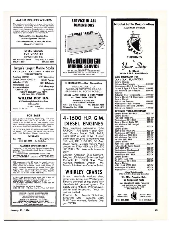 Maritime Reporter Magazine, page 41,  Jan 15, 1974