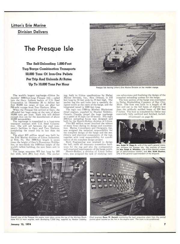 Maritime Reporter Magazine, page 5,  Jan 15, 1974