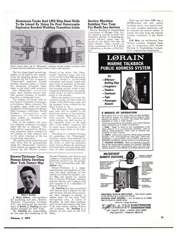 Maritime Reporter Magazine, page 8,  Feb 1974