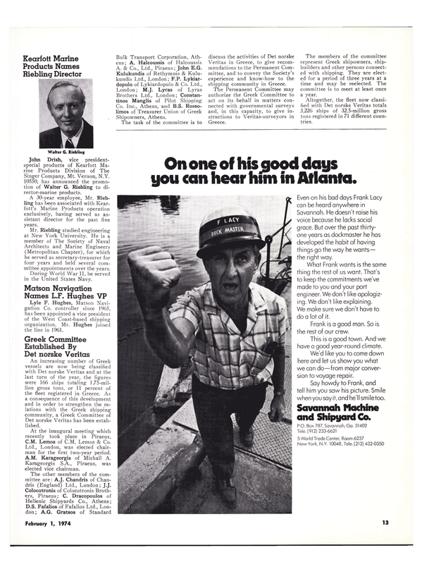 Maritime Reporter Magazine, page 10,  Feb 1974