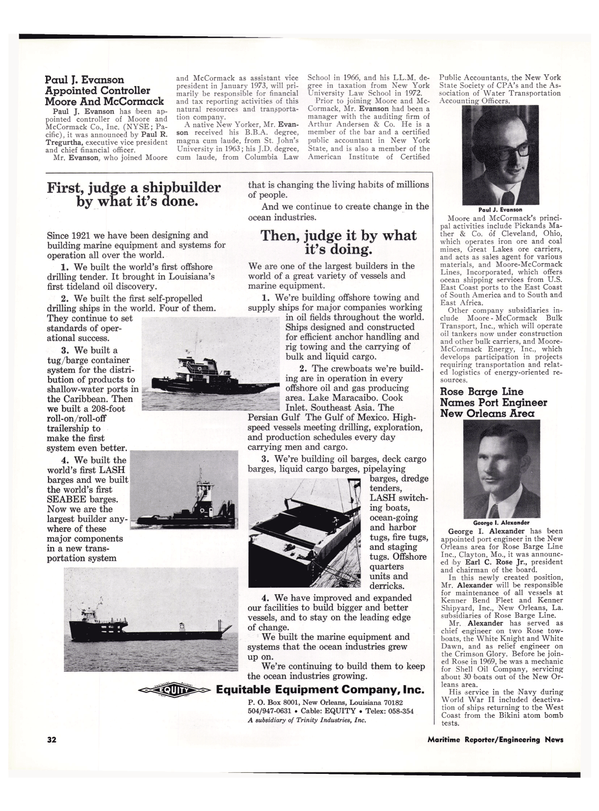Maritime Reporter Magazine, page 29,  Feb 1974