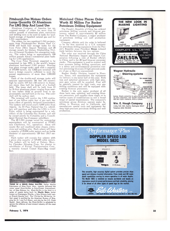 Maritime Reporter Magazine, page 30,  Feb 1974