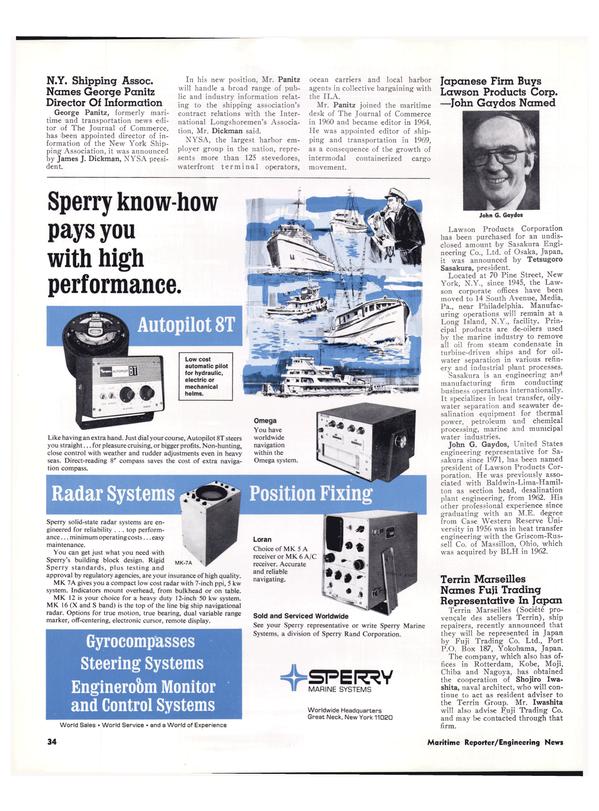 Maritime Reporter Magazine, page 31,  Feb 1974