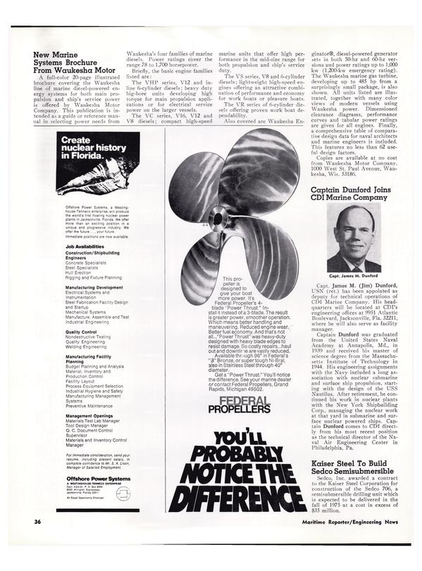 Maritime Reporter Magazine, page 33,  Feb 1974