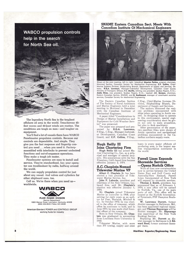 Maritime Reporter Magazine, page 6,  Feb 1974