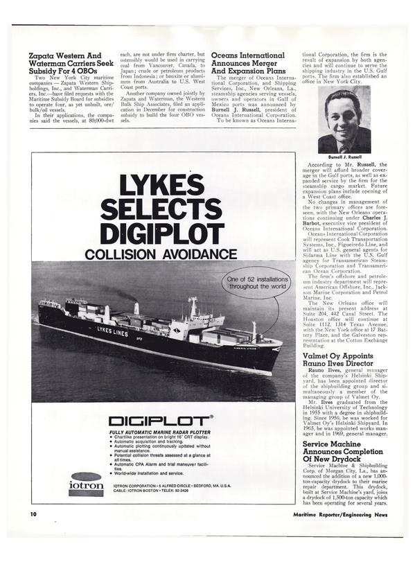 Maritime Reporter Magazine, page 8,  Feb 15, 1974