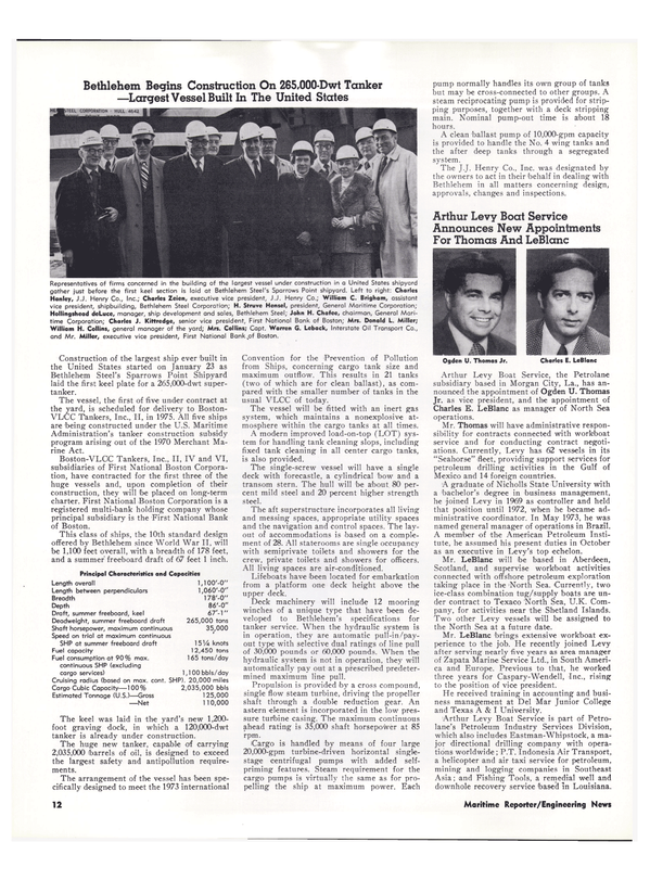 Maritime Reporter Magazine, page 10,  Feb 15, 1974