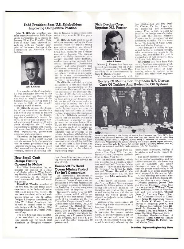 Maritime Reporter Magazine, page 12,  Feb 15, 1974
