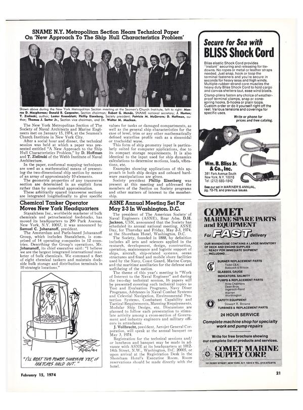 Maritime Reporter Magazine, page 18,  Feb 15, 1974