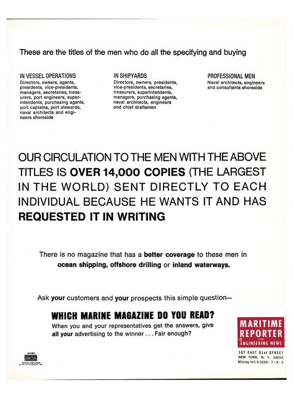 Maritime Reporter Magazine, page 20,  Feb 15, 1974