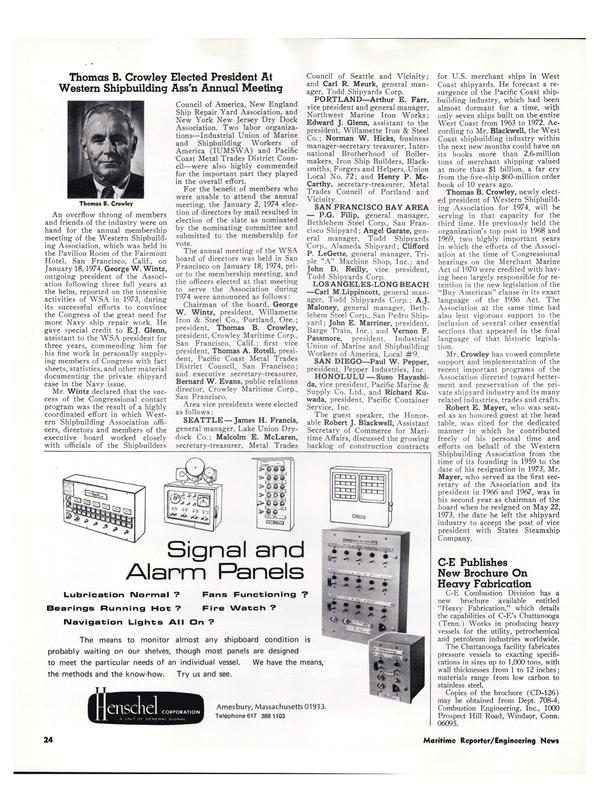 Maritime Reporter Magazine, page 21,  Feb 15, 1974