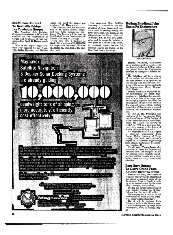 Maritime Reporter Magazine, page 8,  Mar 1974 New Jersey