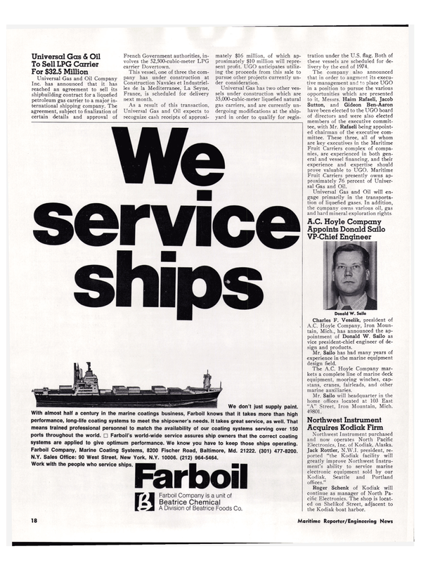 Maritime Reporter Magazine, page 14,  Mar 1974