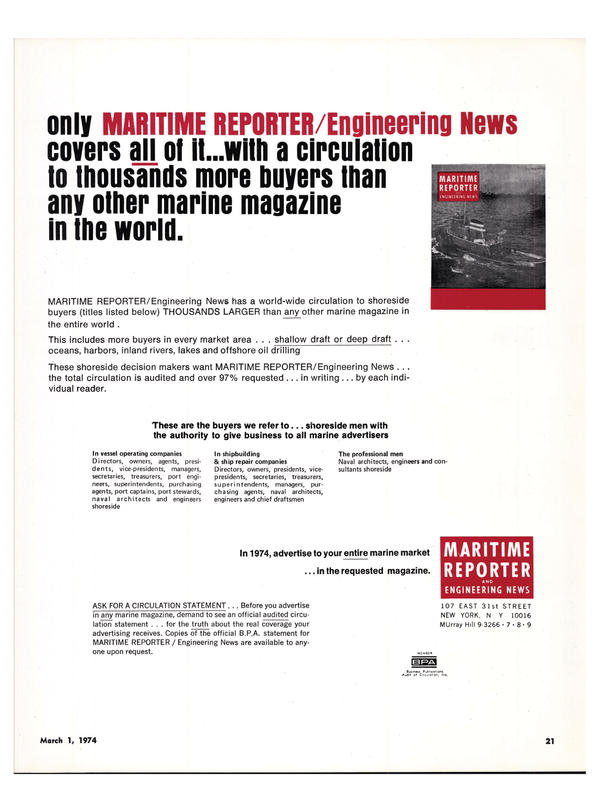 Maritime Reporter Magazine, page 17,  Mar 1974 offshore oil drilling