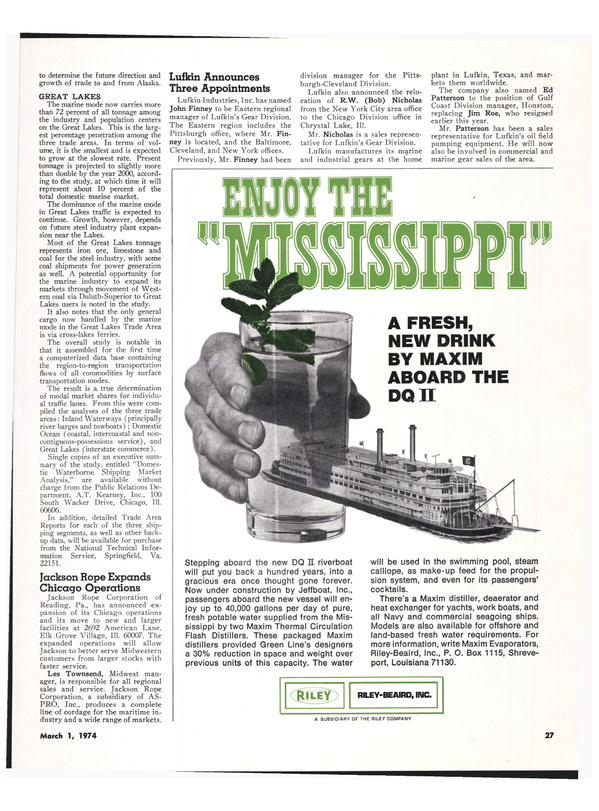 Maritime Reporter Magazine, page 23,  Mar 1974 green Line