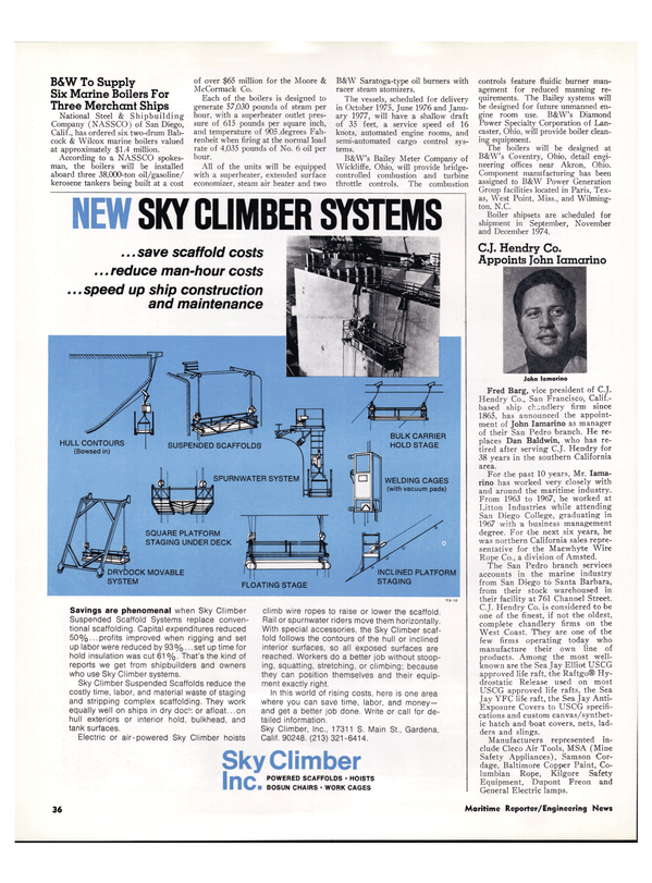 Maritime Reporter Magazine, page 32,  Mar 1974 Northern California