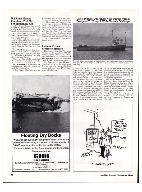 Maritime Reporter Magazine, page 34,  Mar 1974 Tri-Continent Service