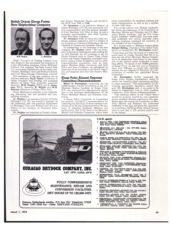 Maritime Reporter Magazine, page 39,  Mar 1974