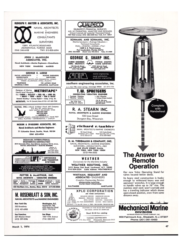Maritime Reporter Magazine, page 43,  Mar 1974 Minnesota