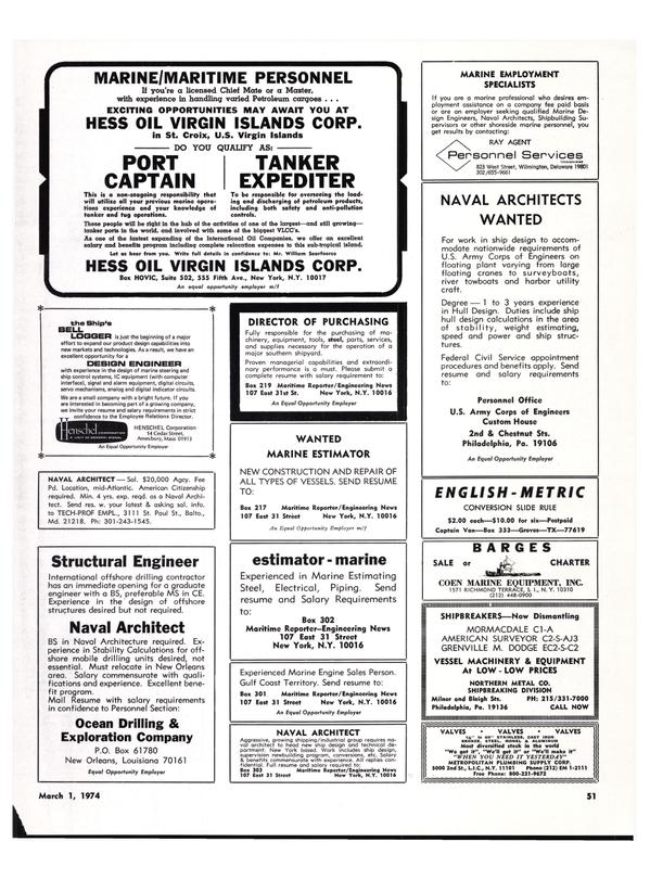 Maritime Reporter Magazine, page 49,  Mar 1974