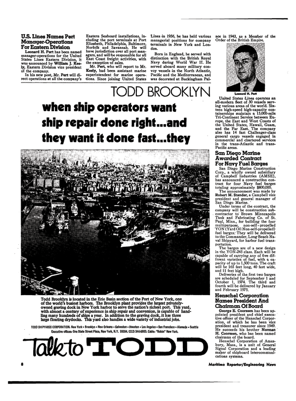 Maritime Reporter Magazine, page 6,  Mar 1974 east coast