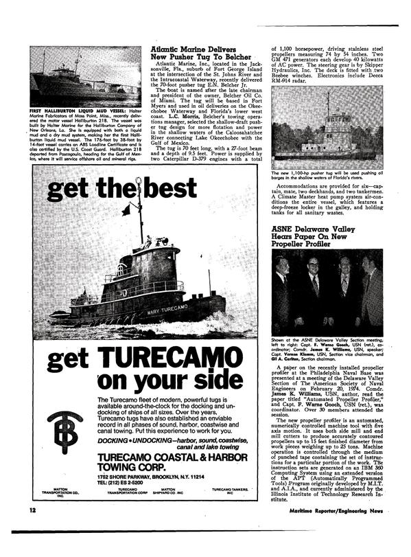 Maritime Reporter Magazine, page 10,  Apr 1974 New York