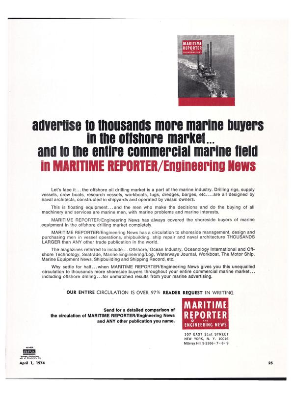 Maritime Reporter Magazine, page 22,  Apr 1974 marine advertising