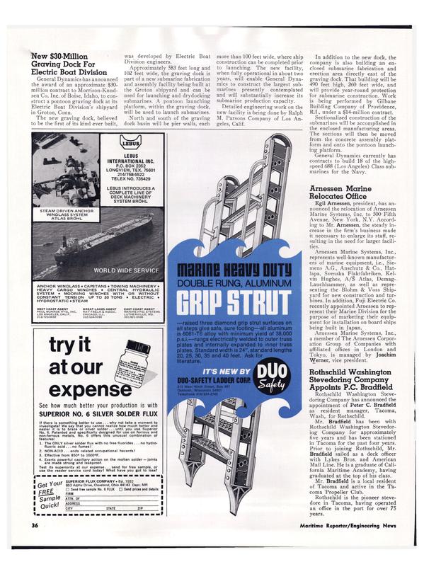 Maritime Reporter Magazine, page 33,  Apr 1974