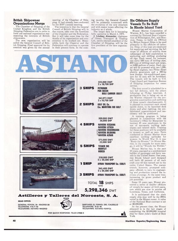 Maritime Reporter Magazine, page 37,  Apr 1974