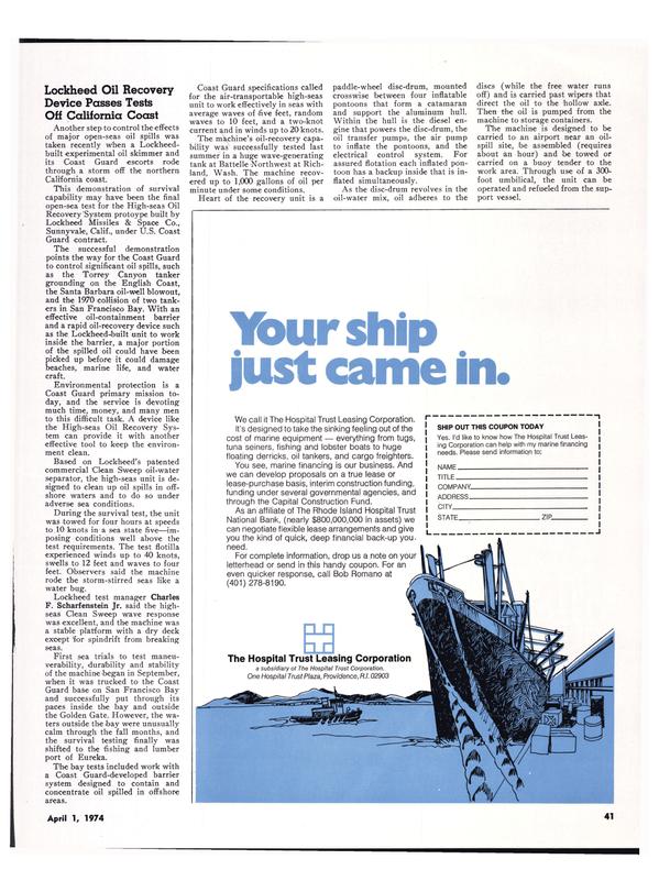 Maritime Reporter Magazine, page 38,  Apr 1974