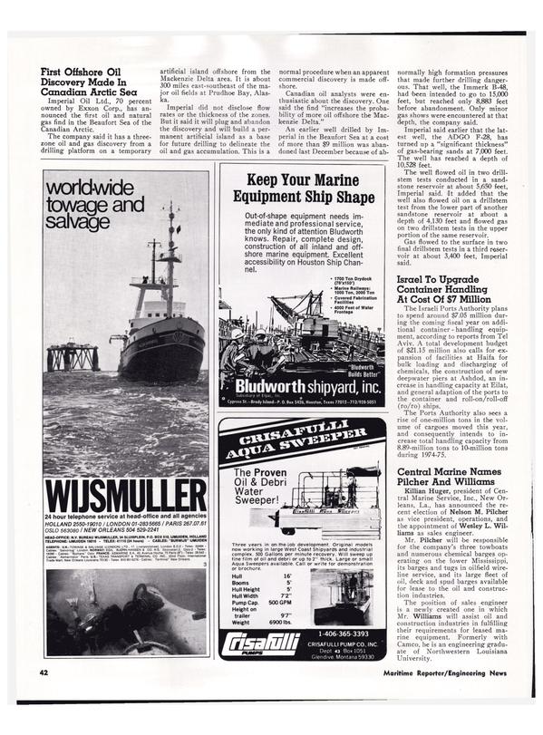 Maritime Reporter Magazine, page 39,  Apr 1974