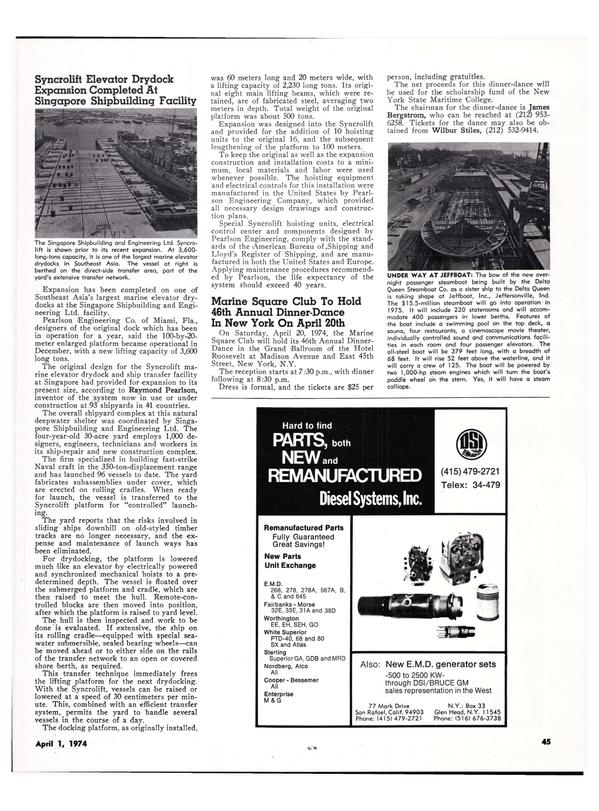 Maritime Reporter Magazine, page 42,  Apr 1974 James Bergstrom