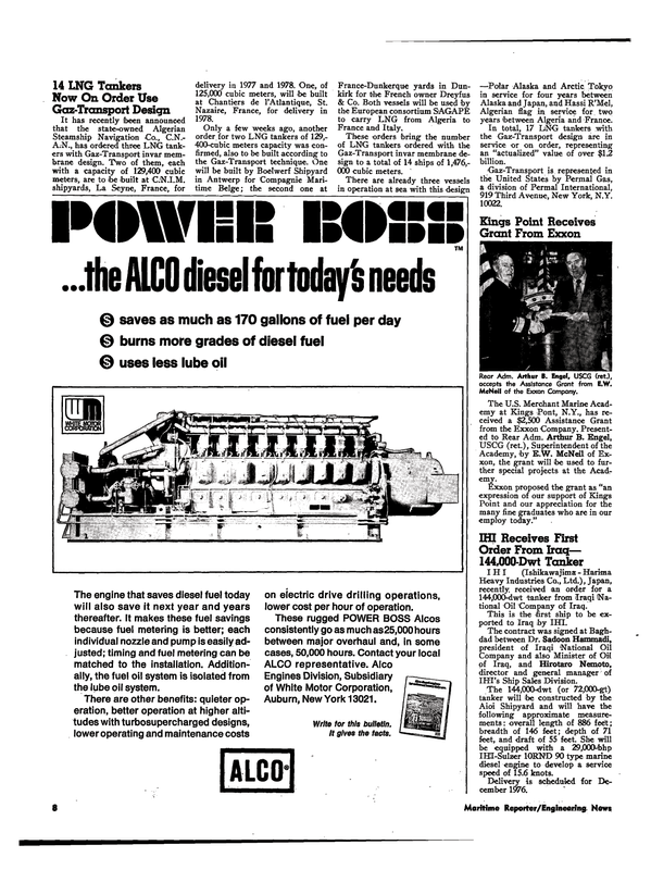 Maritime Reporter Magazine, page 6,  Apr 1974