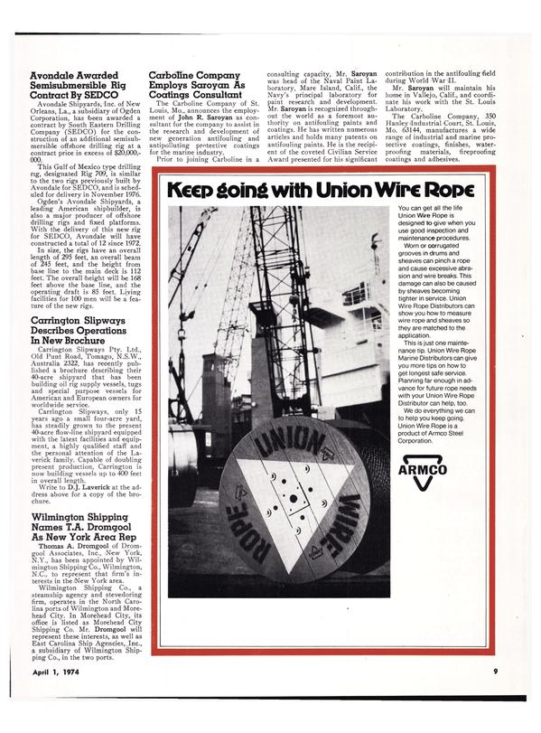 Maritime Reporter Magazine, page 7,  Apr 1974 North Carolina