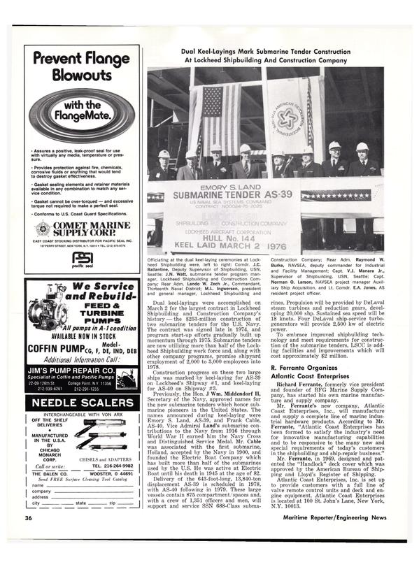Maritime Reporter Magazine, page 34,  Apr 1976 Lando W. Zech Jr.