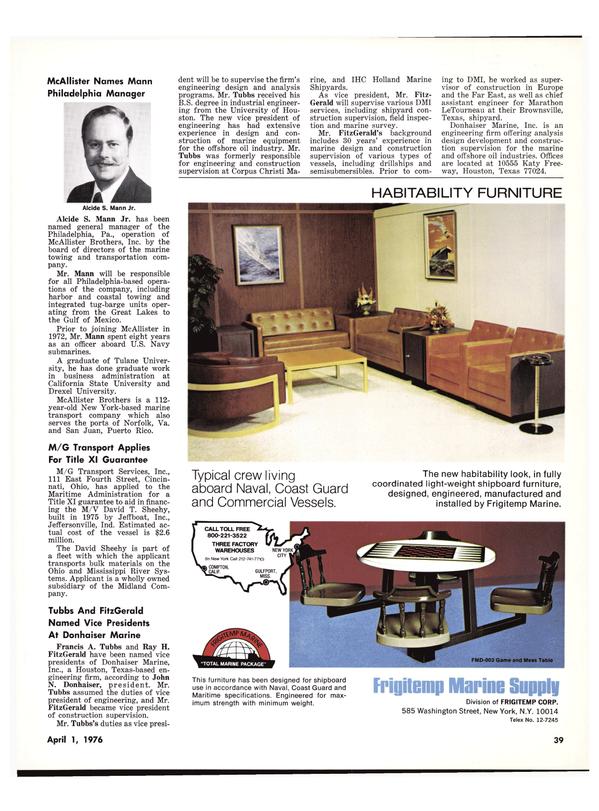 Maritime Reporter Magazine, page 37,  Apr 1976