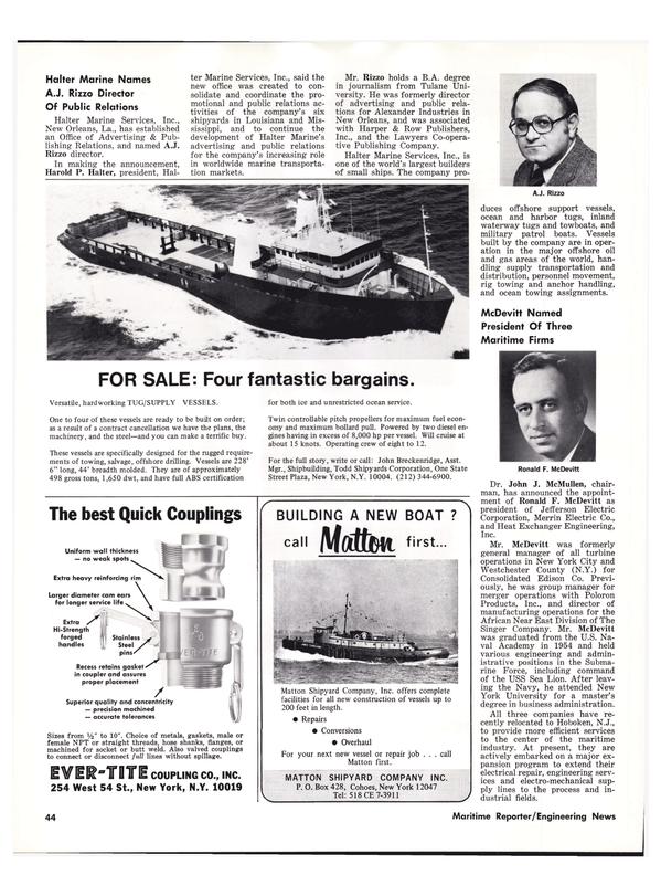 Maritime Reporter Magazine, page 42,  Apr 1976
